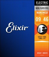 Струны для электрогитары Elixir NANOWEB Custom Light Nickel Plated